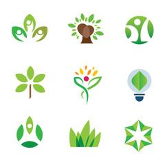 Eco environment awareness green tree nature logo icon set