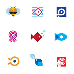 New mobile app startup logo icon set digital age community