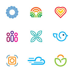 Simple line blog forum logo fast download icon set