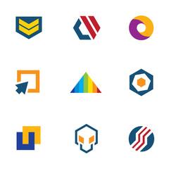 Army badge stripes game developer computer logo icon set
