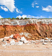 layered cliffs at Hunstanton with skies