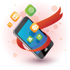 Phone and apps with ribbon