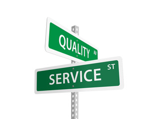 QUALITY SERVICE street signs (feedback customer)