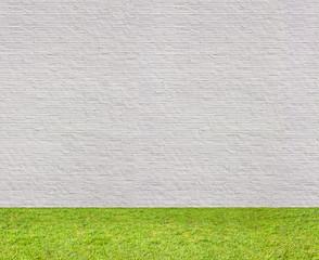 white brick wall horizontal seamless with lawn