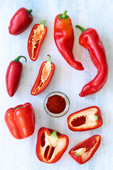 Red chillis peppers capcisum paprika