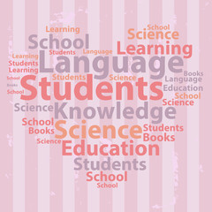 Text cloud. Education wordcloud. Tag concept. Vector illustratio