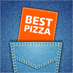 Blue back jeans pocket realistic denim texture with best pizza t