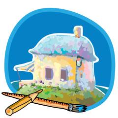 Paintihg. House, summer. Brush and pensil.Vector illustration.