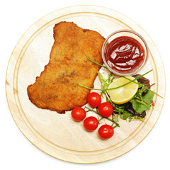 Schnitzel or escalope, top view