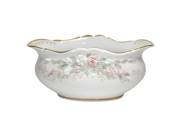 Porcelain salad bowl with gold border and pattern
