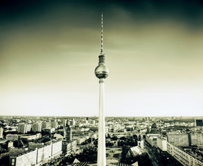 Tv tower or Fersehturm in Berlin, Germany. Vintage retro tone