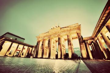 Brandenburg Gate, Berlin, Germany at night. Vintage, retro