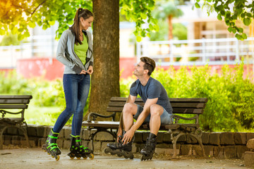 rollerblades couple