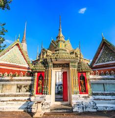 Ancient art at Wat Pho in Bangkok of Thailand