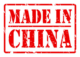 MADE IN CHINA stamp with red text on white