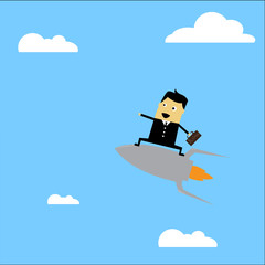 Businessman riding a rocket illustration