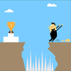 Businessman dare not jump to the trophy illustration.