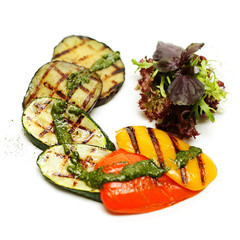 Grilled vegetable on white background