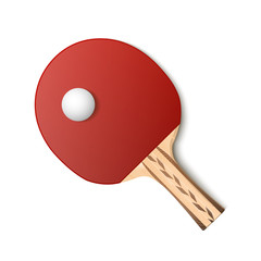 Table tennis red racket and ball isolated on white background