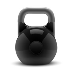 Realistic classic kettlebell isolated on white background