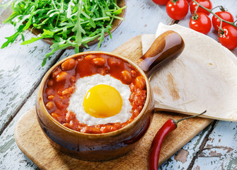 baked eggs with beans for Mexican