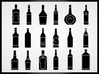 Set of bottles illustrated on white background
