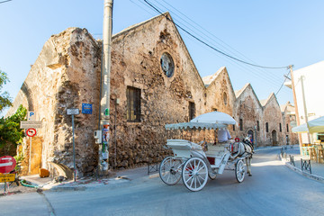 Traditional venetian brougham and horse at Greece, Chania, Crete