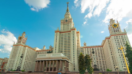 Motion timelapse around the Moscow State University