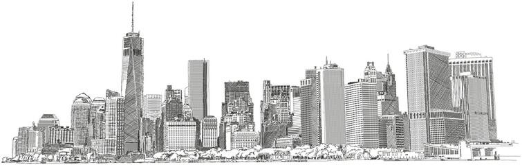 New York Skyline skyscraper Wolkenkratzer Zeichnung