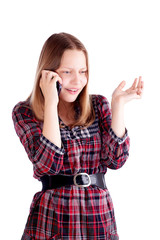 Teen girl talking on the mobile phone and resent