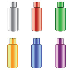 Iron canister in different colors on white. Raster