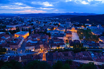 Old Town of Ljubljana at dusk in Slovenia