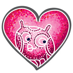 Painting, pink heart, with cute cartoon owl. Vector illustration