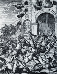 Pirates attacks spanish fortress, from Buccaneers of America