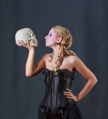 Woman with a Skull