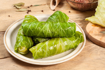 Raw cabbage rolls.