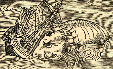 Sea monster attacks an ship