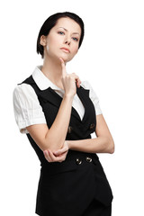 Portrait of businesswoman in black vest, isolated