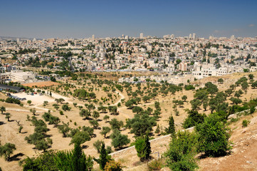 Jerusalem landscape as seen from the mount of olives.