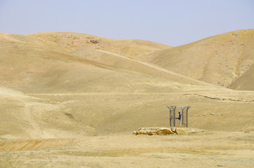 Mini station of the water pipeline in Negev desert. Israel.