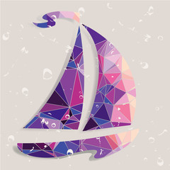 Retro ship  background made of triangles.