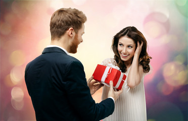 Man makes present to his lovely sweetheart