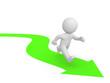 3d man running along the green arrow