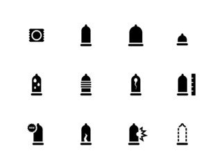Condom and contraception icons on white background