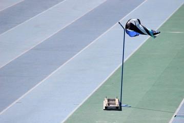 Manche à air sur une piste d'athlétisme