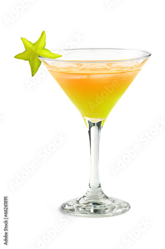 tropical cocktail with starfruit - 66261891