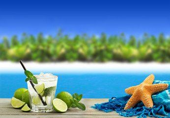 mojito in a tropical beach