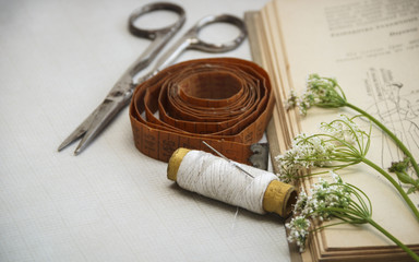 Sewing tools: measuring tape, spool of thread, needle, scissors