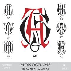 Vintage Monograms AG AA AS AT AV AW AX