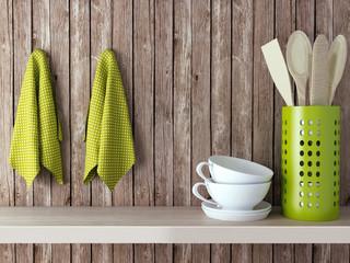 Wooden kitchen shelf.